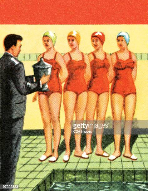 stockillustraties, clipart, cartoons en iconen met swimsuit competition - match sport
