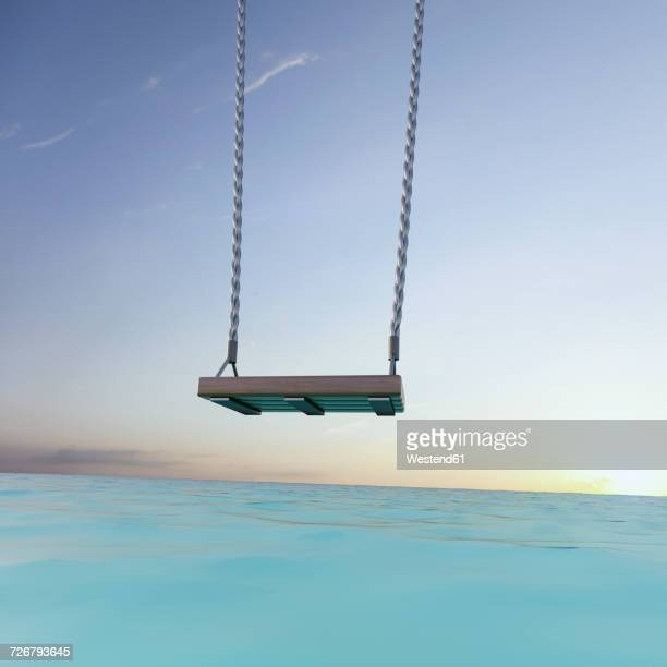 swing over the sea at sunset, 3d rendering - sea stock illustrations