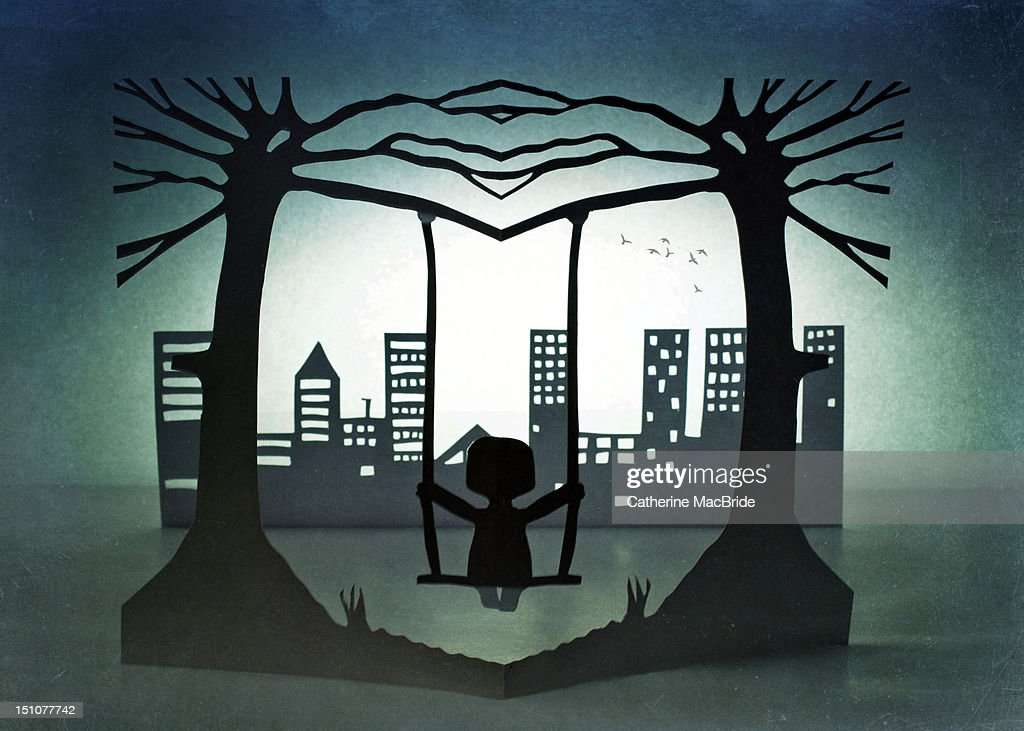 Swing with city view : Stock Illustration