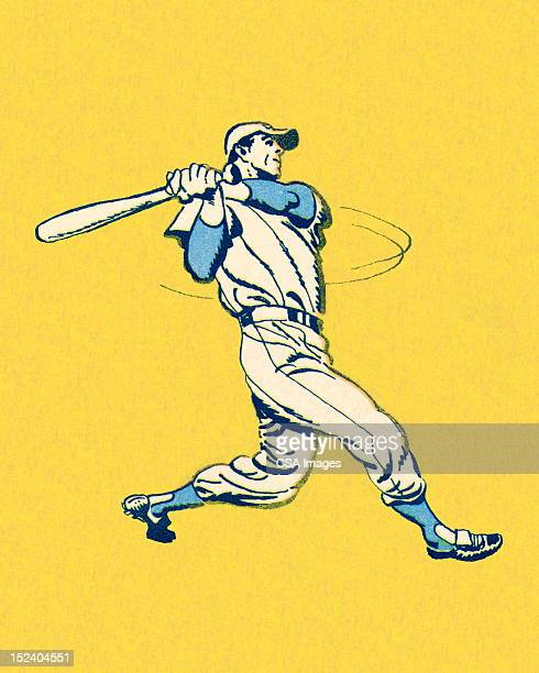 swinging baseball player - baseball stock illustrations, clip art, cartoons, & icons