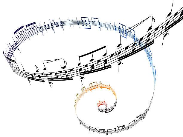 Swirling Musical Notes Against A White Background Wall Art