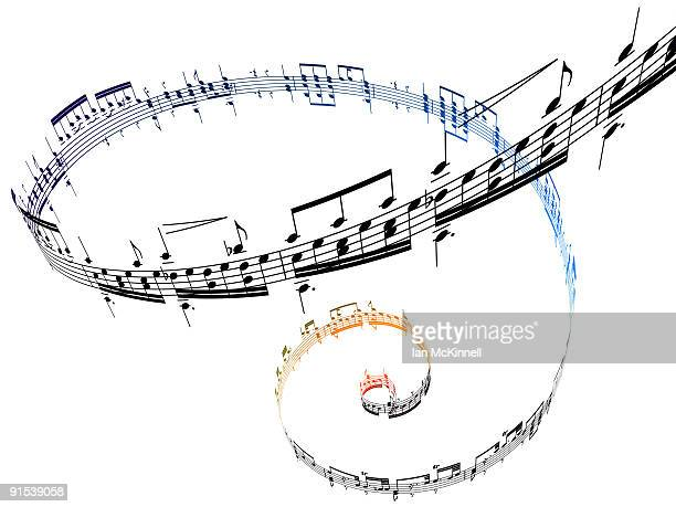 swirling musical notes against a white background - music style stock illustrations, clip art, cartoons, & icons