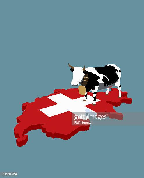 swiss cultural stereotype and swiss flag in the shape of switzerland - all european flags stock illustrations