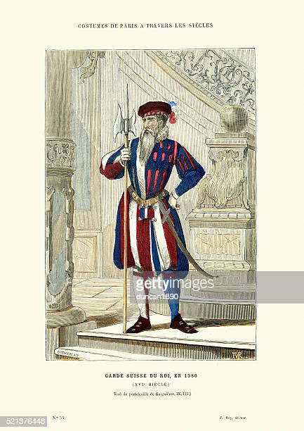 swiss guard of the king, france, 16th century - swiss culture stock illustrations