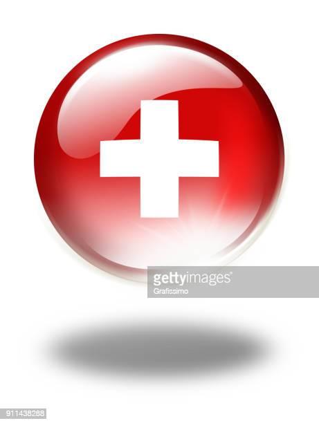 ilustrações, clipart, desenhos animados e ícones de botão da suíça com bandeira swiss isolada no branco - símbolo médico