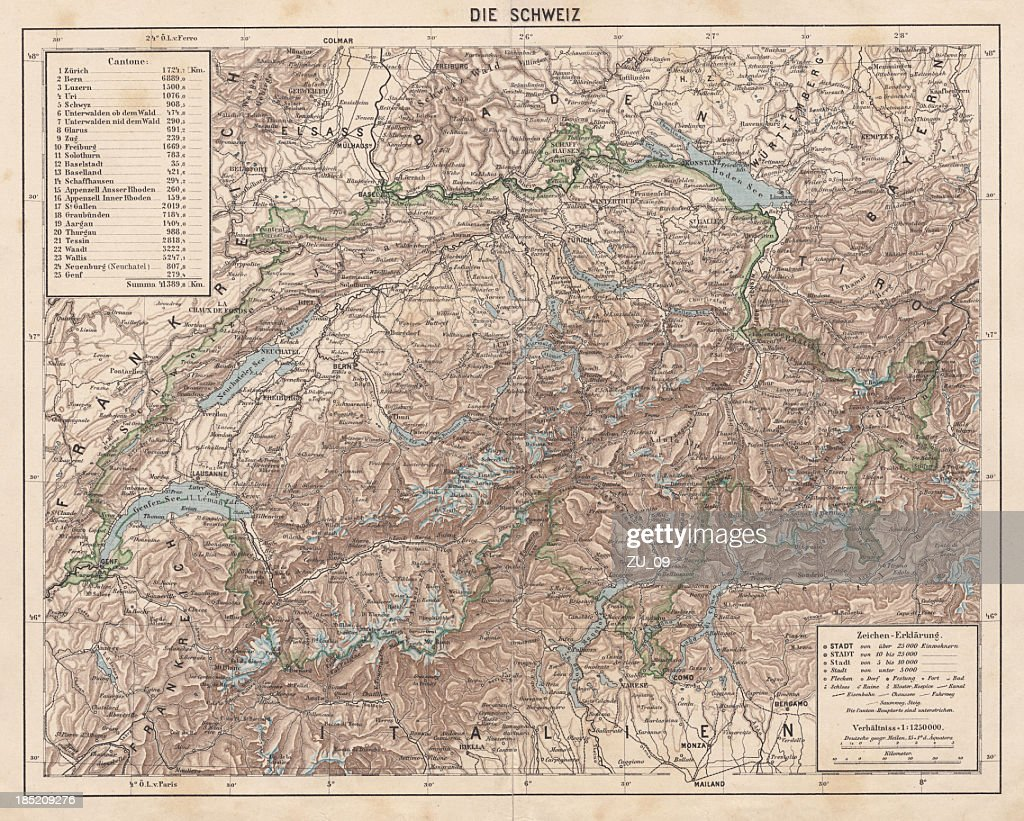 Switzerland Topographic Map Published In 1881 Stock Illustration