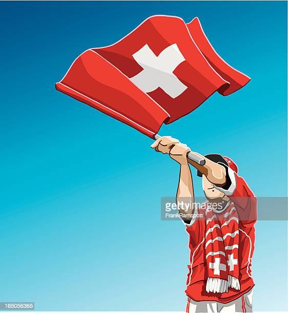 schweiz winken flagge fußball-fan - fan enthusiast stock-grafiken, -clipart, -cartoons und -symbole
