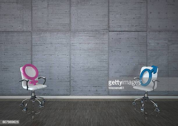 swivel chairs with mars and venus signs against concrete wall - battle of the sexes concept stock illustrations