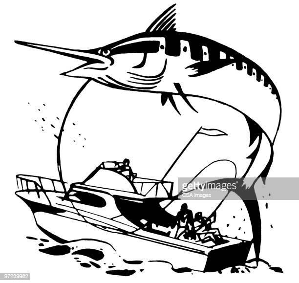 swordfish - nautical vessel stock illustrations