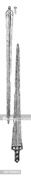 swords of mycenae - mycenae stock illustrations