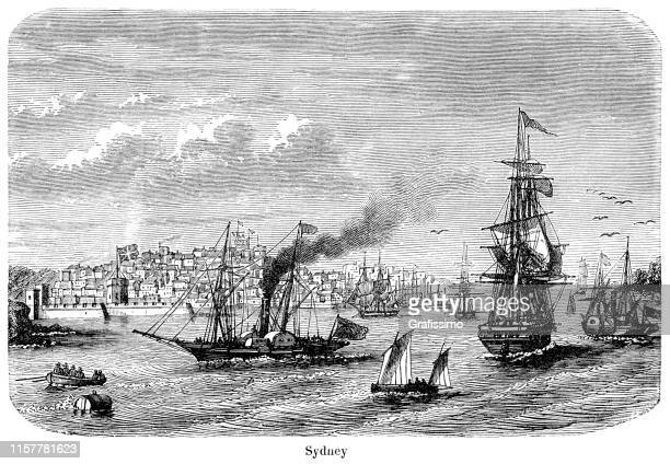 sydney australia illustration 1887 - sydney stock illustrations