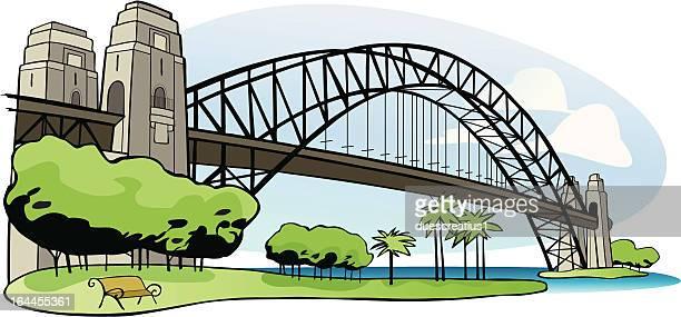 sydney harbor bridge - sydney harbour bridge stock illustrations