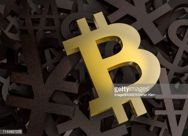 symbol for crypto currency bitcoin, located on other currency symbols, germany - other stock illustrations, clip art, cartoons, & icons