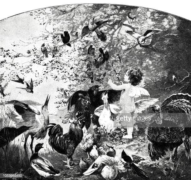 symbolic: angels feed a large flock of birds - cockerel stock illustrations, clip art, cartoons, & icons