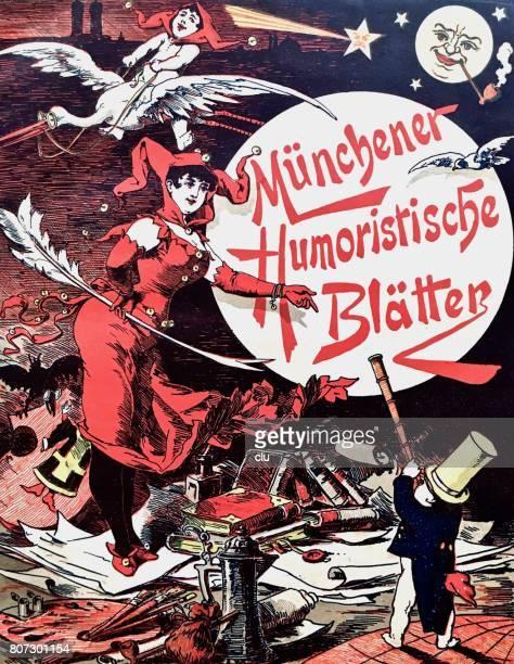 ilustrações, clipart, desenhos animados e ícones de ilustração simbólica da revista humorística, ganso voador, livros, mulher do coringa, 1889 - livraria