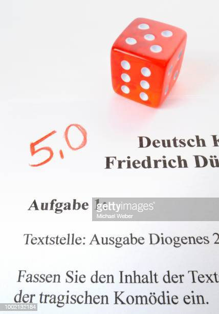 Symbolic image for grading in subject German by using dice