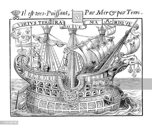 symbolic vessel of france 17th century - historical document stock illustrations, clip art, cartoons, & icons