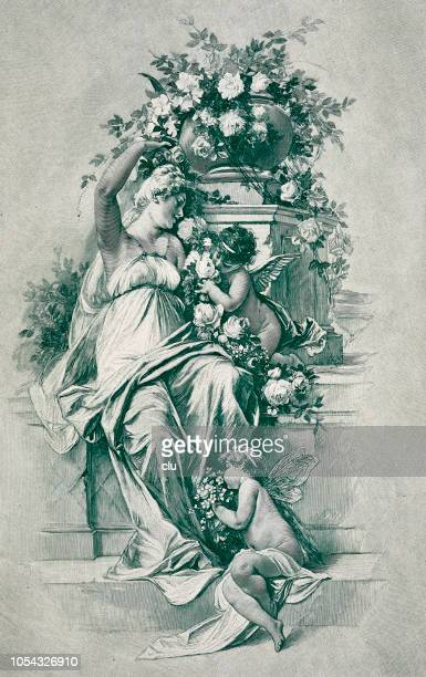 Symbolic: young woman and angels on staircase smelling flowers