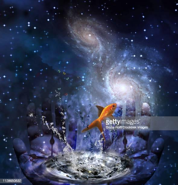 ilustraciones, imágenes clip art, dibujos animados e iconos de stock de symbolism. human hands with clock hands and golden fish - galaxiaespiral