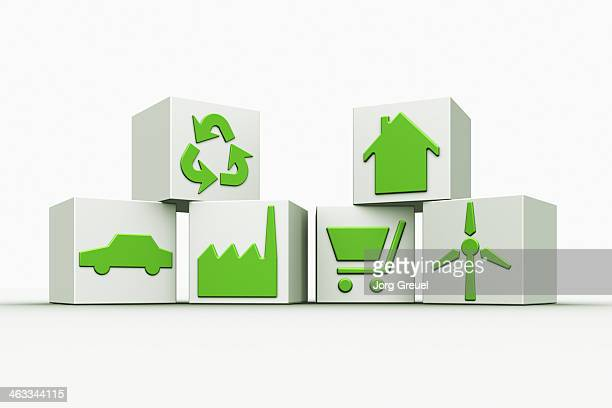 symbols of a sustainable lifestyle - consumerism stock illustrations