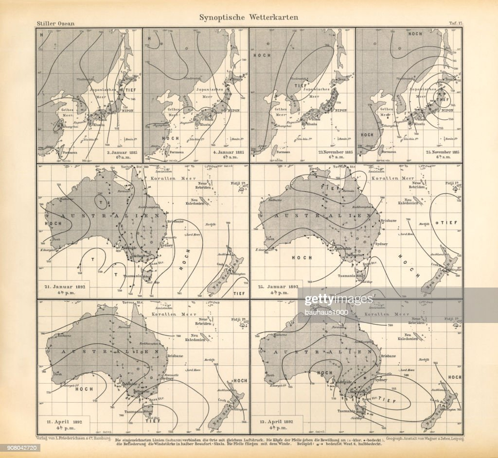 Synoptic Weather Maps Chart Pacific Ocean German Antique Victorian