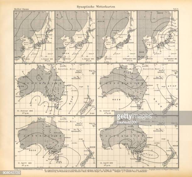 Synoptic Weather Maps Chart, Pacific Ocean, German Antique Victorian Engraving, 1896