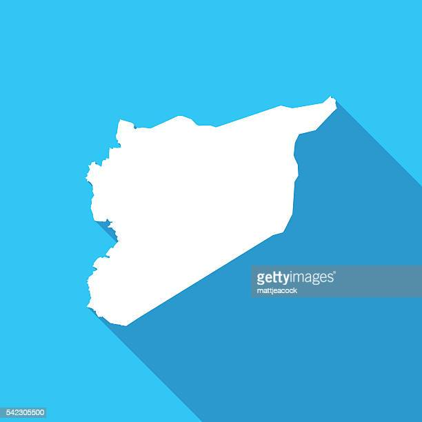 Syria long shadow map in white on a blue background