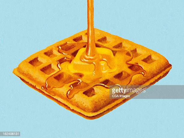 syrup being poured on waffle - waffle stock illustrations
