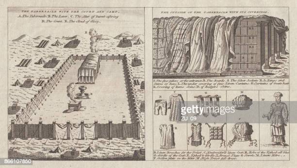 tabernacle and robe for the jewish high priest, published 1774 - old testament stock illustrations