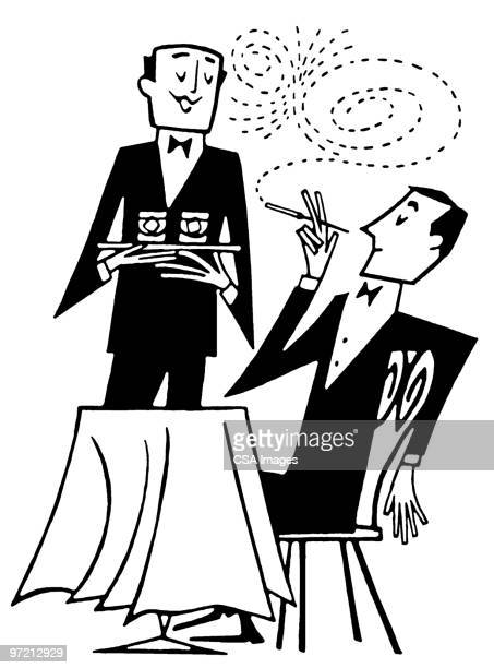 table for one - butler stock illustrations, clip art, cartoons, & icons
