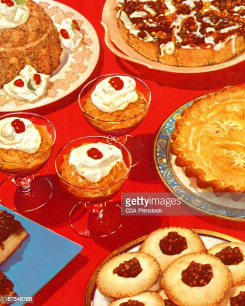 table full of desserts - pastry dough stock illustrations, clip art, cartoons, & icons