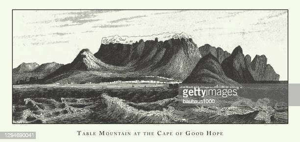 table mountain at the cape of good hope, rock and valley formations and stratification engraving antique illustration, published 1851 - western cape province stock illustrations