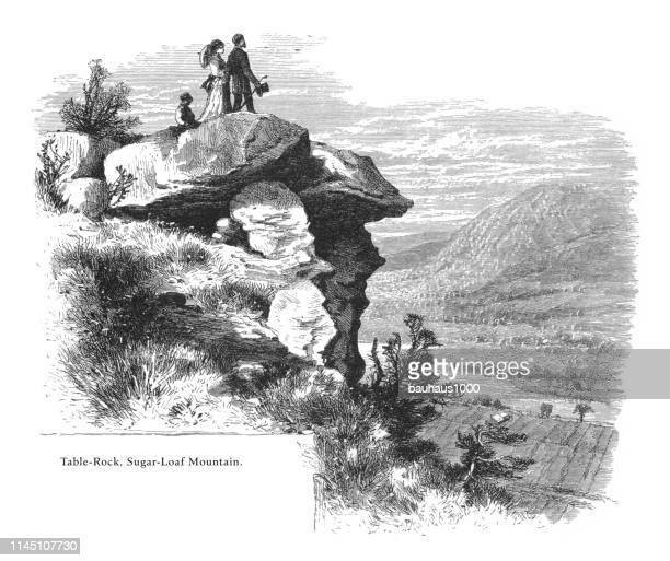 table rock, sugarloaf mountain, connecticut river, valley of the connecticut, massachusetts, united states, american victorian engraving, 1872 - connecticut river stock illustrations, clip art, cartoons, & icons