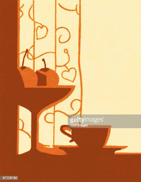 table still-life - vine stock illustrations