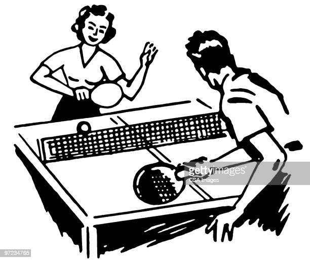 table tennis - friendship stock illustrations