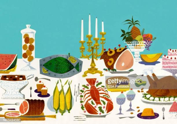illustrations, cliparts, dessins animés et icônes de table avec plateaux de nourriture - aperitif dinatoire