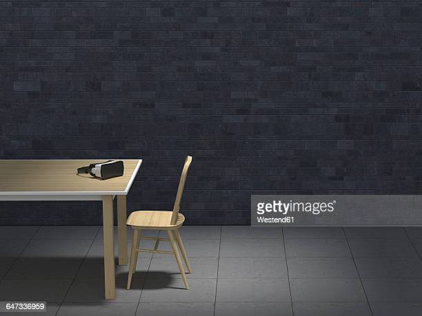 Table with VR glasses in darkened room, 3D-Rendering