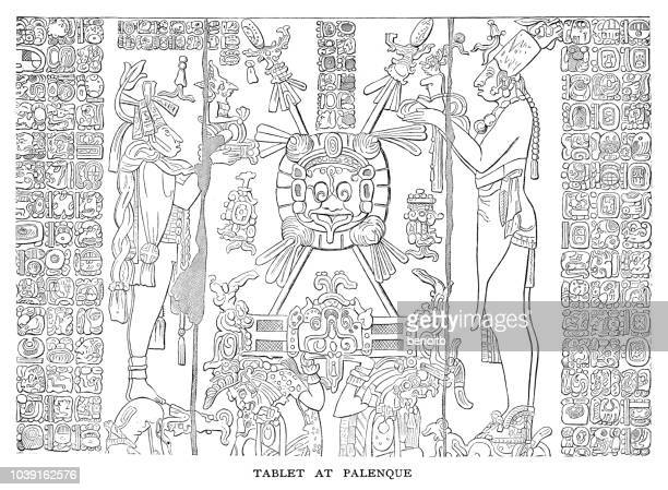tablet at palenque - relief carving stock illustrations