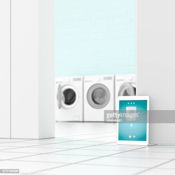 tablet in laundry room, 3d rendering - automated stock illustrations