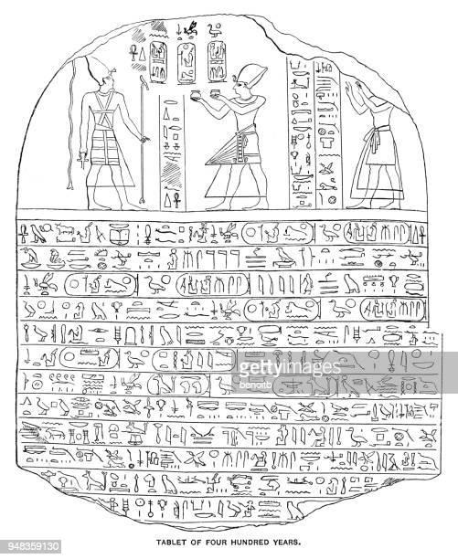 illustrations, cliparts, dessins animés et icônes de tablette de quatre cents ans - hiéroglyphe