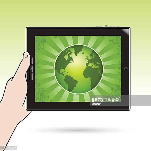 tablet pc mit ökologie globus holding - electronic organizer stock-grafiken, -clipart, -cartoons und -symbole