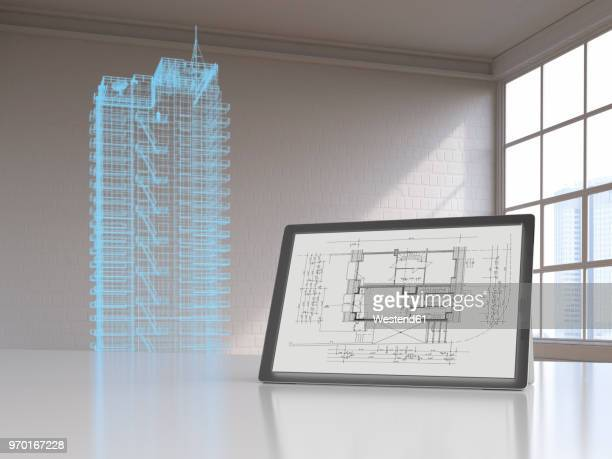 Tablet with blueprint and model of a skyscraper with digital grid, 3d rendering