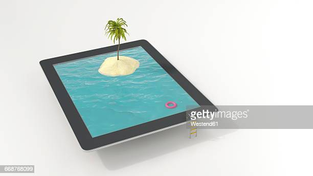 Tablet with floating tire and island with palm in the sea, 3D Rendering