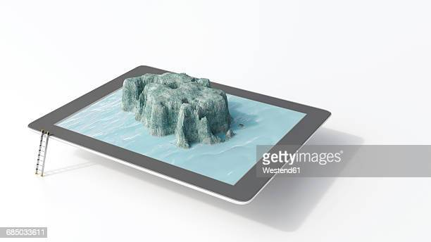Tablet with seascape, 3D rendering