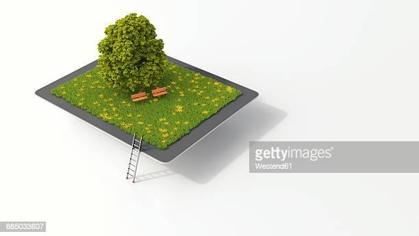 ilustrações, clipart, desenhos animados e ícones de tablet with tree and benches on meadow, 3d rendering - composição