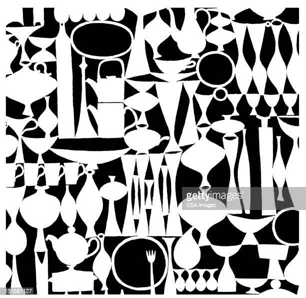 tableware pattern - food stock illustrations
