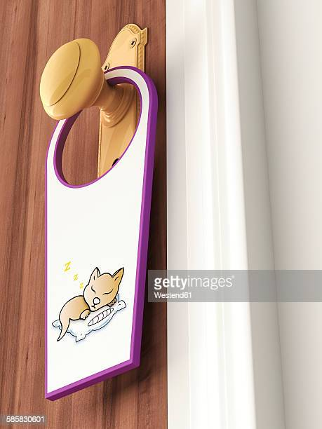 tag with picture of sleeping cat hanging on doorknob - the alphabet stock illustrations
