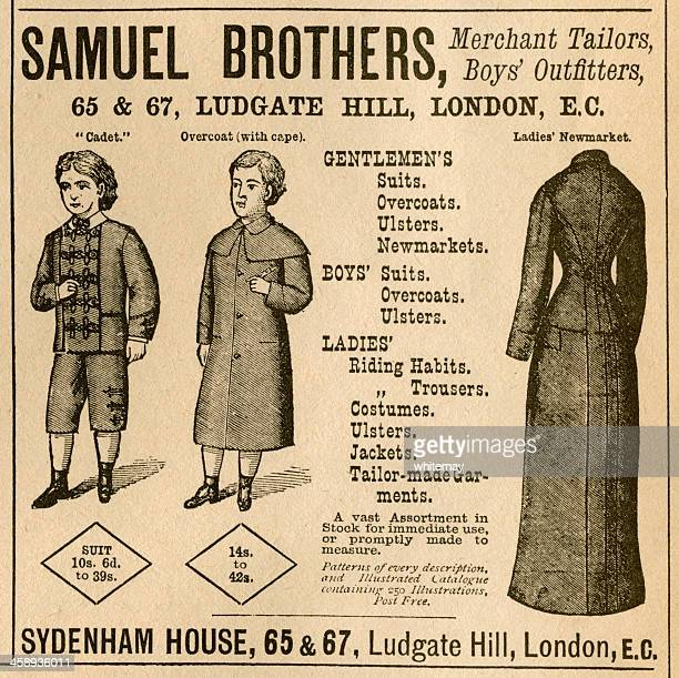 tailor's advertisement from 1881 - sunday best stock illustrations, clip art, cartoons, & icons
