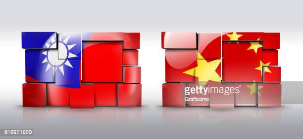 Taiwan and China wall with taiwanese flag as puzzle isolated on white