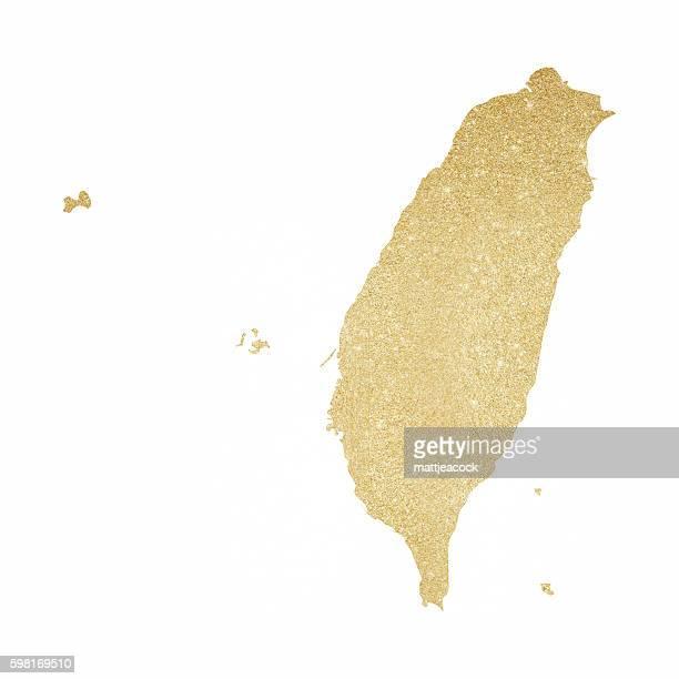 Taiwan gold glitter map